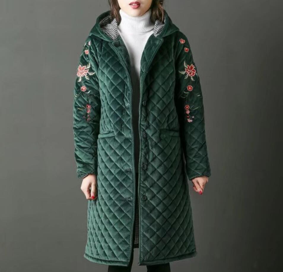 Le A1011 Vers Or Bas Vintage Coton Fleurs Gray Automne caramel Femelle Manteau red À Hiver Broderie green black Parkas Femmes Lâche 2018 Velours Capuchon wIvUPzPq