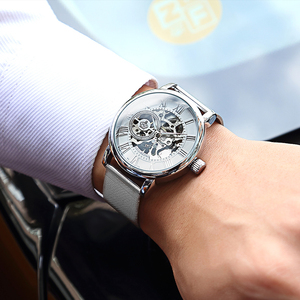 Image 3 - Unique ORKINA argent montre mécanique pour hommes Ultra mince conception squelette cadran en acier inoxydable maille bracelet mode homme montre bracelet