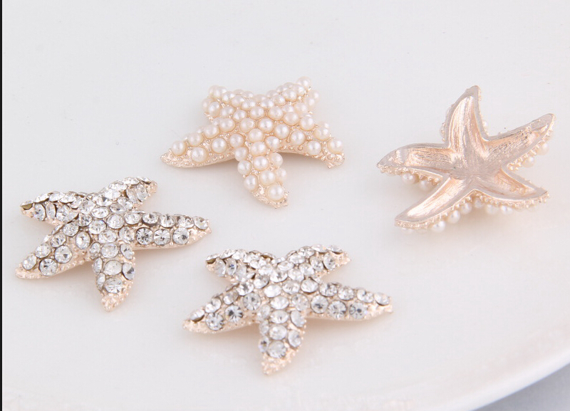 Free Shipping 100pcs lot Rhinestone Starfish Button Flatback Button DIY Flower Centerpiece Wedding Embellishment LSB012 1