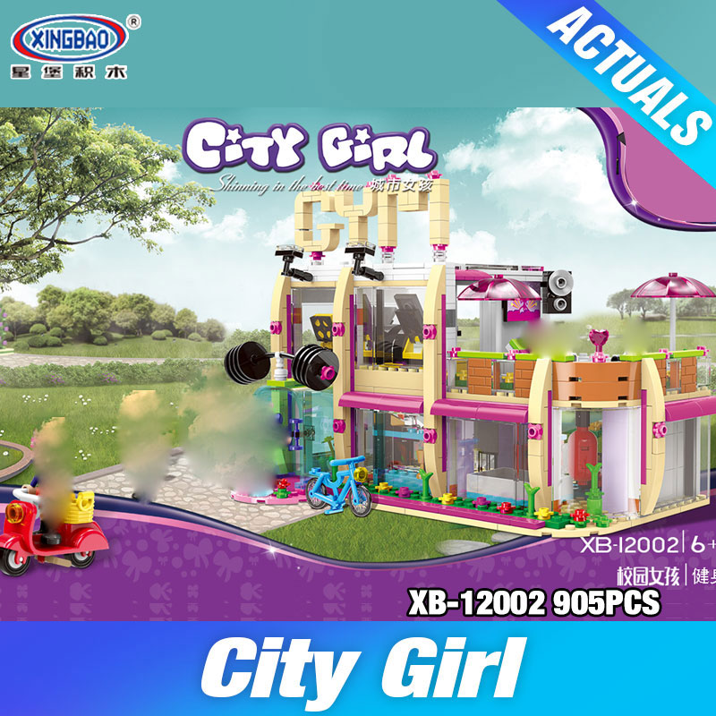 XINGBAO 12002 New 905Pcs City Girl Series The Gym Club Set Building Blocks Bricks Toys Model For Children As New Year Gifts wange mechanical application of the crown gear model building blocks for children the pulley scientific learning education toys