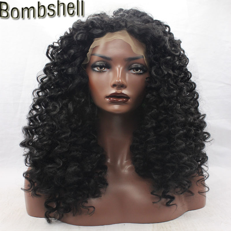 Bombshell Deep Kinky Curly Front Synthetic Front Lace Wig Heavy Density Heat Resistant Fiber For African