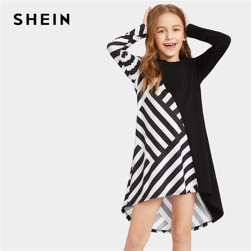 SHEIN Kiddie Two Tone Striped Asymmetrical Hem Casual Tunic Girls Dress 2019 Spring Long Sleeve Kids Dresses For Girls Clothing