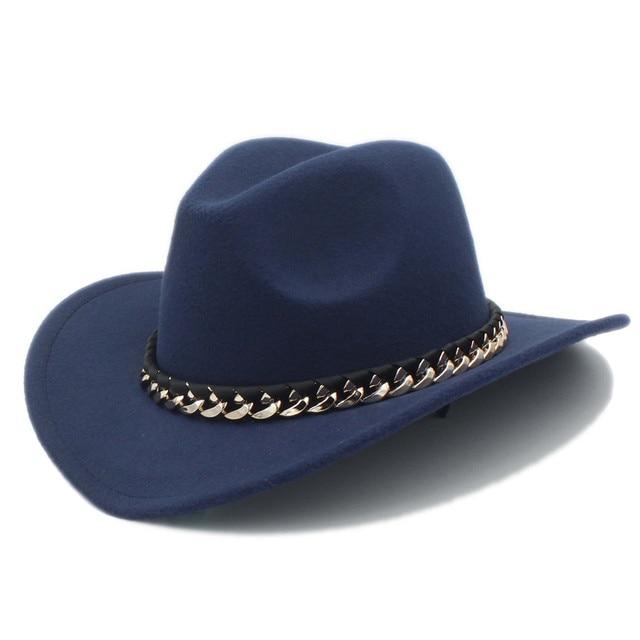 Gorro vaquero occidental de lana para hombre para caballero vaquera Jazz  Iglesia gorra de cuero 20b9323969a