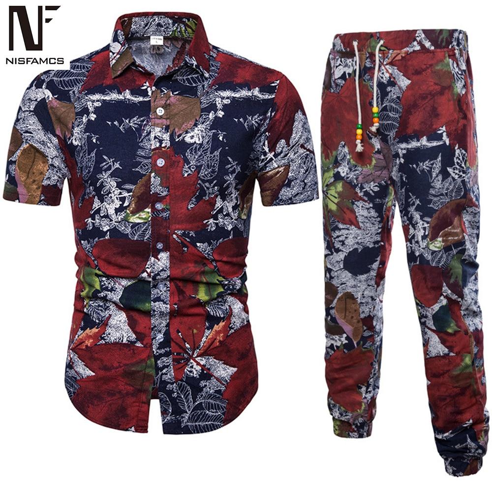 Elegant Hip Hop Set Men Summer Beach Streetwear Fitness Vintage African Style Tracksuits Suit Plus Size Vacation Swimsuit 2019