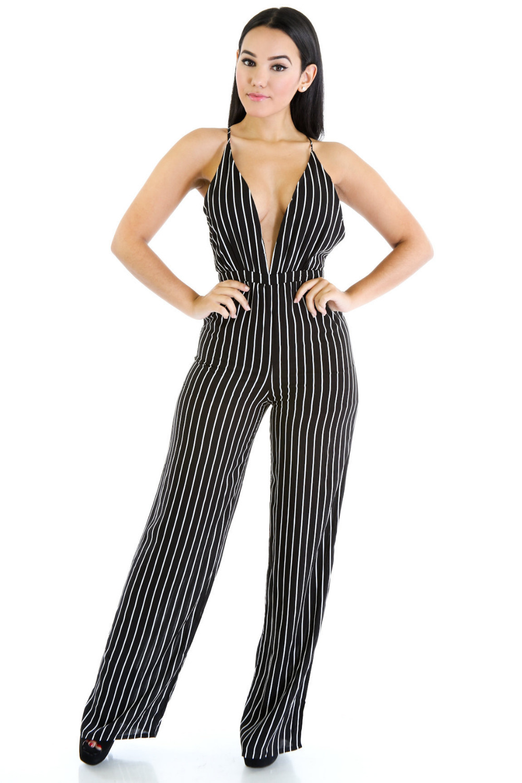 efc4156846e8 2016 Summer Women Black White Striped Jumpsuit Sexy Deep V-neck Sleeveless  Bandage Jumpsuit Wide Leg Long Pant Rompers Plus Size