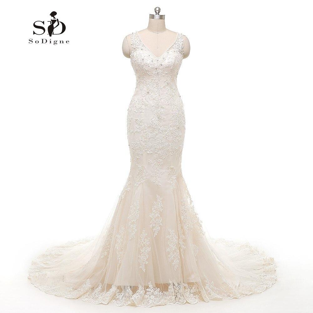 Mermaid Ruffle Wedding Dress Beads Lace Appliques Bridal Gown Beautiful  White /Lvory Wedding Dress Custom Made