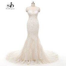 Mermaid Ruffle Wedding Dress Beads Lace Appliques Bridal Gown Beautiful  white /Lvory Custom made