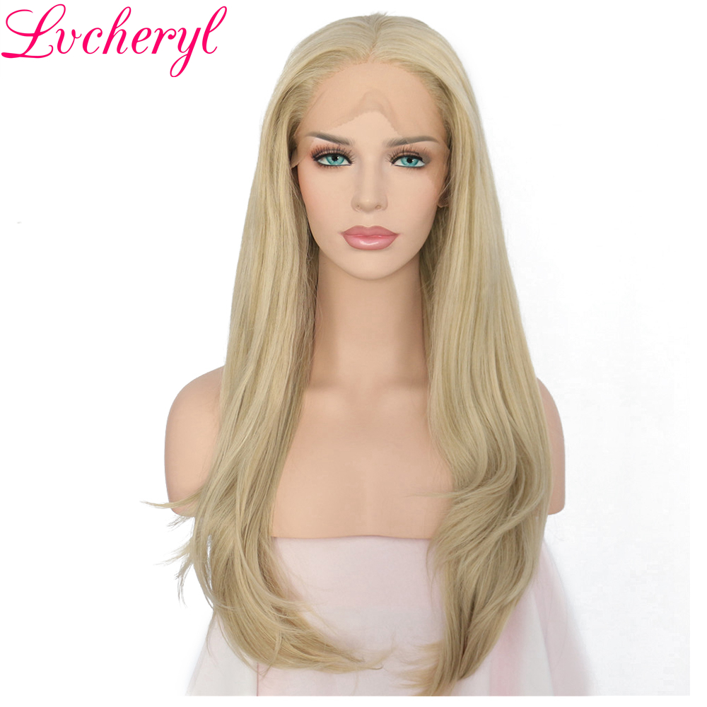 Lvcheryl Hand Tied Long Natural Straight Light Blond Color High Temperature Fiber Hair Glueless Synthetic Lace Front Wigs