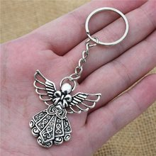 Fashion 30mm Key Ring Metal Key Chain Keychain Jewelry Antique Silver Plated guardian angel Pendant Key Chains(China)