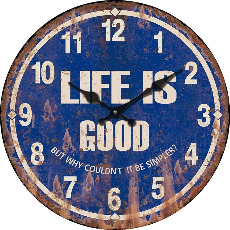 Online Shop Life Is Good Blue Vintage Antique Wooden Wall Clock