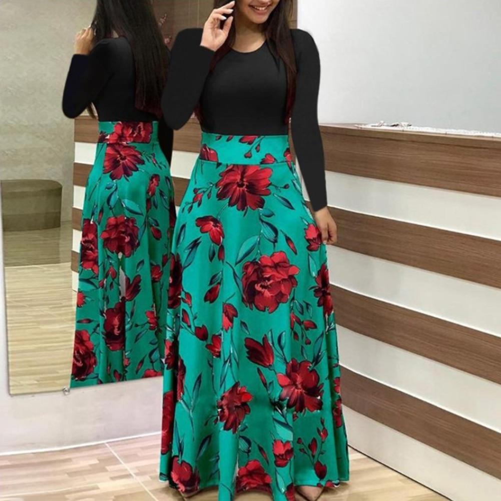 HTB1vz TXVY7gK0jSZKzq6yikpXab New Summer Flower Dot Print Color Matching Long Sleeve High Waist Women Maxi Dress