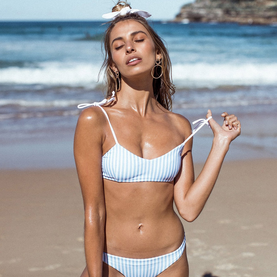 18ccf7eea19 US $10.98 45% OFF|Blue Striped Bikini Sexy Swimwear Women Push Up Swimsuit  Brazilian Bikini Set Cute Bathing Suit Girls Beach Wear Biquini-in Bikinis  ...