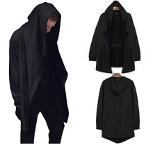 2017 New Men Cloak Cape Long Black Hooded Trench Coat Plus Size Loose Wizard font b