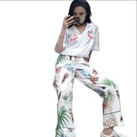 Summer new Korean retro fashion personalized printing beach pants thin section wide or top