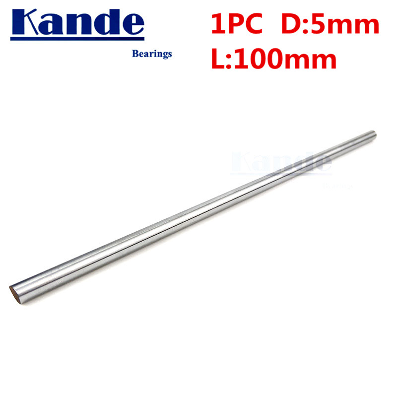 Kande Bearings 1pc d: 5mm  3D printer rod shaft 5mm  linear shaft chrome plated rod shaft CNC parts 100mm  chrome hardened rodKande Bearings 1pc d: 5mm  3D printer rod shaft 5mm  linear shaft chrome plated rod shaft CNC parts 100mm  chrome hardened rod