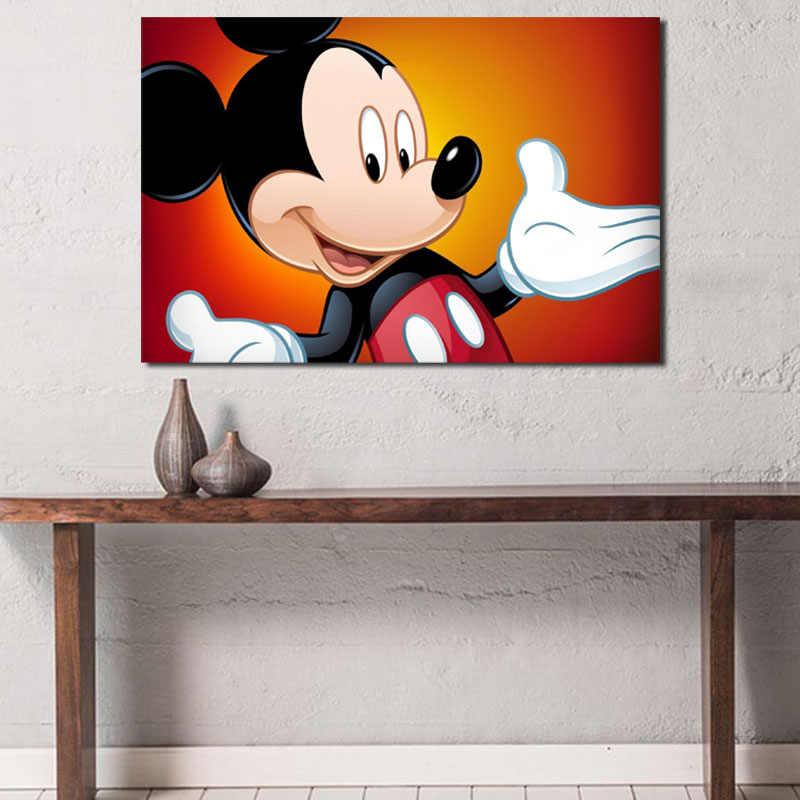 Mickey Mouse Wallpaper Lucu HD Dinding Seni Kanvas Poster dan Cetak Kanvas Lukisan Dekoratif Gambar Kamar.jpg q50