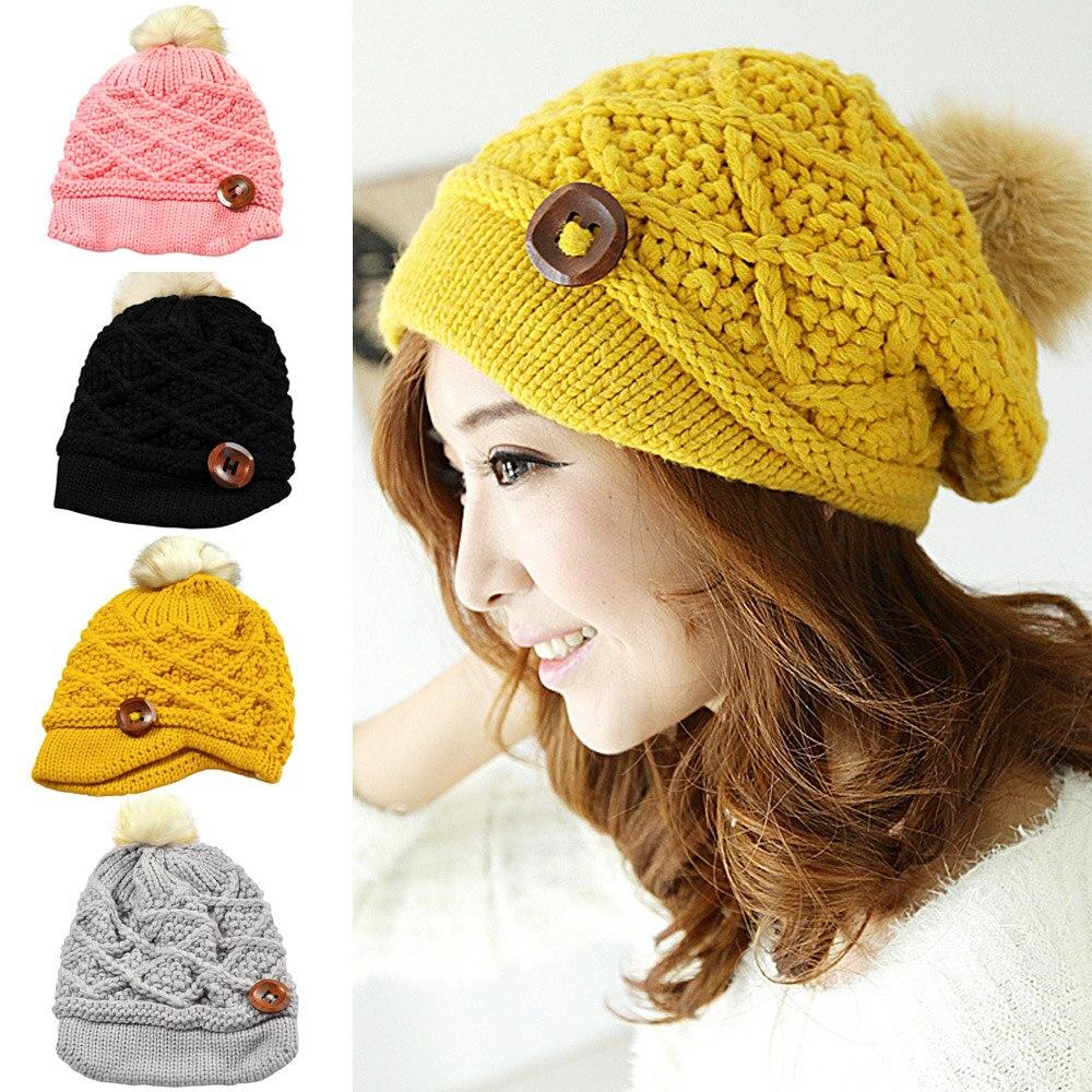 Women Ladies Knitted Crochet Winter Warm Ski Beanie Button Hat Slouch Wool Cap HATBD0026 hot winter beanie knit crochet ski hat plicate baggy oversized slouch unisex cap