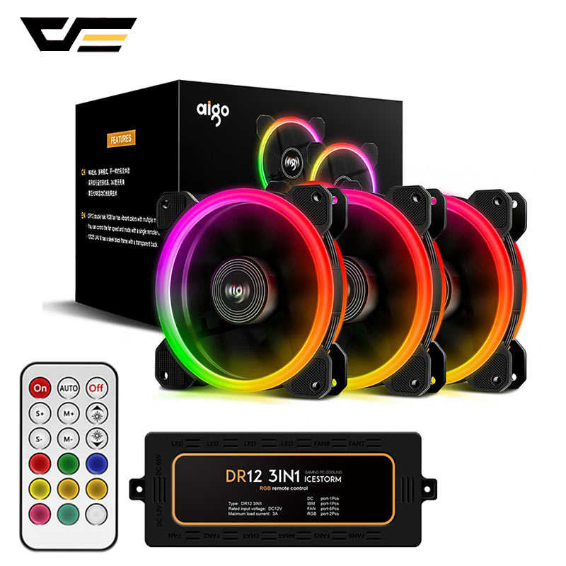 DarkFlash Aigo DR12 Computer Fall Fan PC Lüfter Licht RGB Einstellen LED 120mm Ruhig + IR Remote Kühler fans CPU Gaming Fall