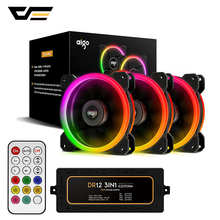 darkFlash Aigo DR12 Computer Case Fan PC Cooling Fan Light RGB Adjust LED 120mm Quiet + IR Remote Cooler Fans CPU Gaming Case a057 quiet pc case fan w led 4 color light transparent