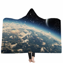 Yoga mat Hooded Blanket Cloak Magic Hat Thick Double-layer Plush 3D Digital Printing Moon Series
