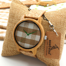 Bobobird A28 New arrival Vintage Round Ladies' Bamboo Wood Quartz Watches With Fabric Dial Women Watches Top Brand Luxury Watch