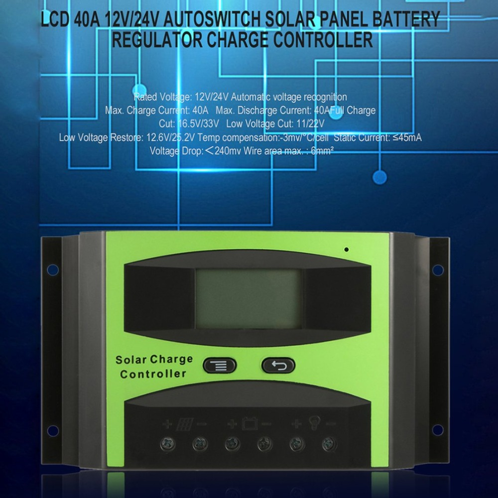 ST1-40A Professional LCD 40A 12V/24V Autoswitch Solar Panel Battery Regulator Charge Controller Auto Regulator 10pcs lot kf301 5 0 2p kf301 3p kf301 4p pitch 5 0mm straight pin 2p 3p 4p screw pcb terminal block connector blue green pn35