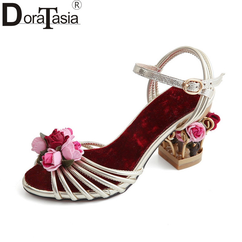 DoraTasia 2018 Summer Brand Sweet Genuine Leather Women Sandals Big Size 33-43 Concise Flower Strange Heels Shoes Woman Party