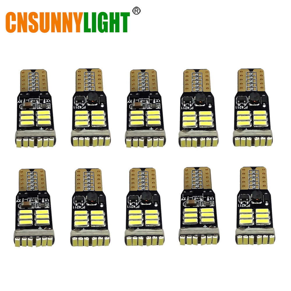 CNSUNNYLIGHT 10x T10 4014 LED 12V W5W led Car Bulbs 168 194 Turn Side License Plate Light Car Parking Fog Lamp clearance light