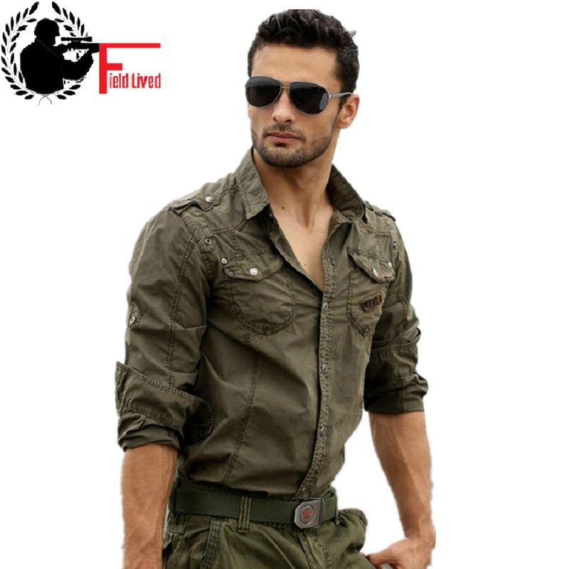 2016 male tactical cargo shirt long sleeve cotton loose for Mens military style long sleeve shirts