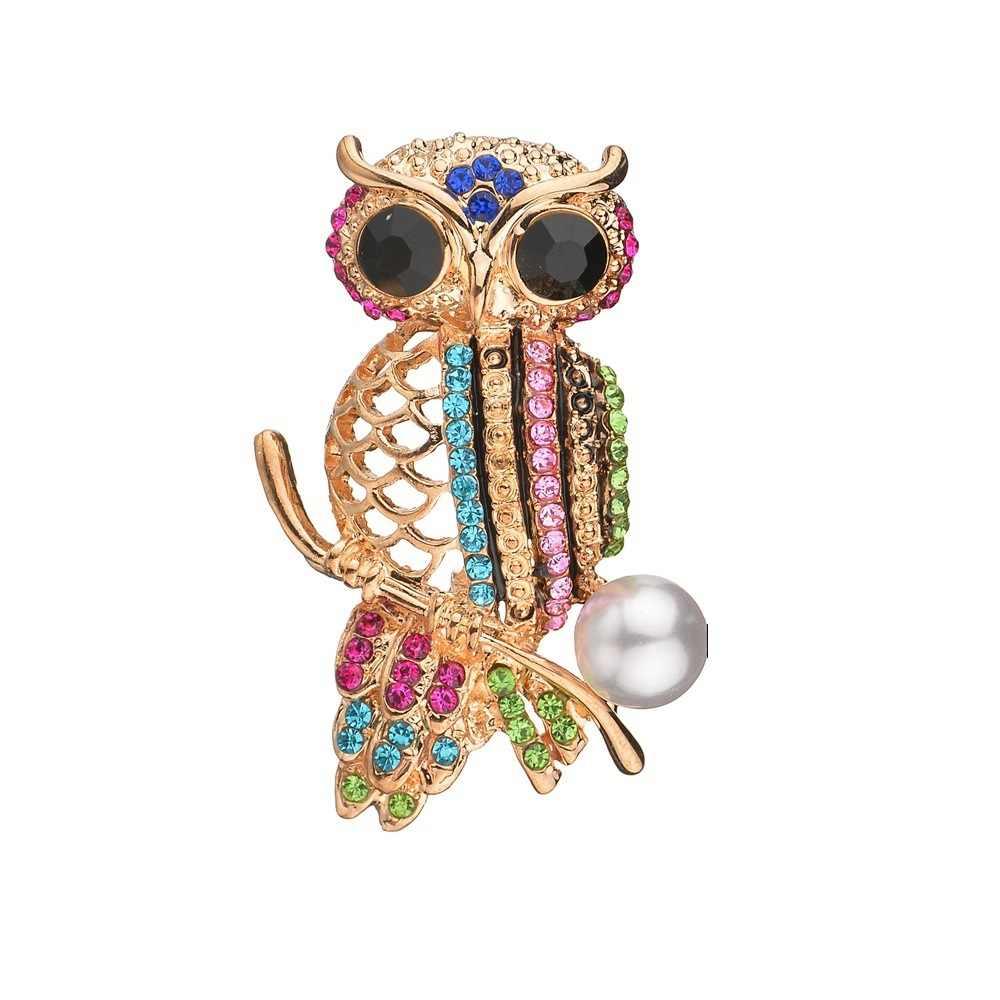 2019 Baru College Hutan Gadis Kristal Bersinar Warna Emas Besar Mata Burung Hantu Laporan Hewan Bros Wanita Lencana Perhiasan Hadiah
