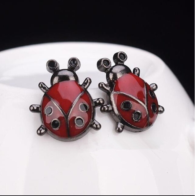 mini Ladybug Brooch Enamel Coccinella Septempunctata Crystal Brooch Pin Insects Beetles Corsages Ladybug Bouquet Brooch Pins