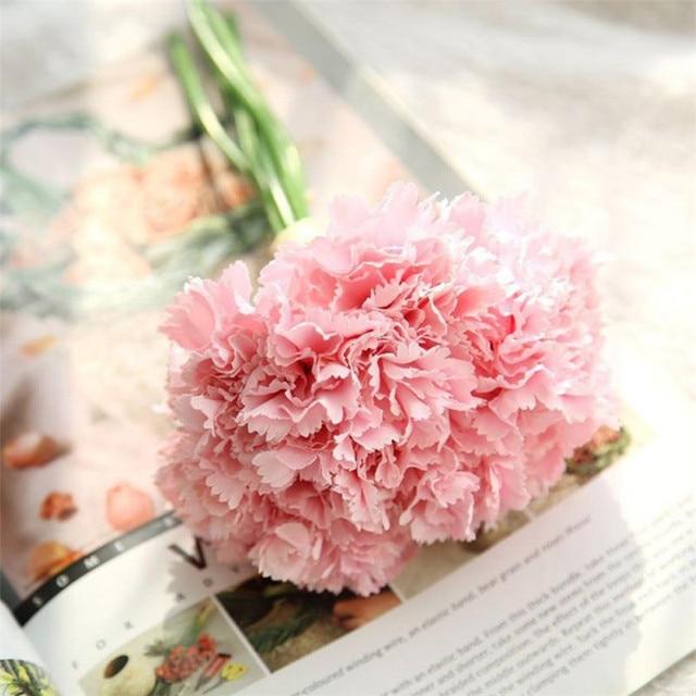 6pcs Artificial Carnations Flower Bouquet Silk Cloth Hand Made ...