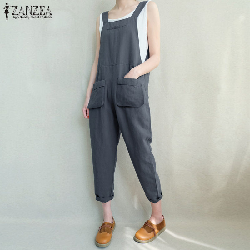 2018 ZANZEA Women Casual Long Jumpsuit Retro Solid Loose Strappy Pockets Turnip Rompers Overalls Work Sleeveless Dungarees Plus