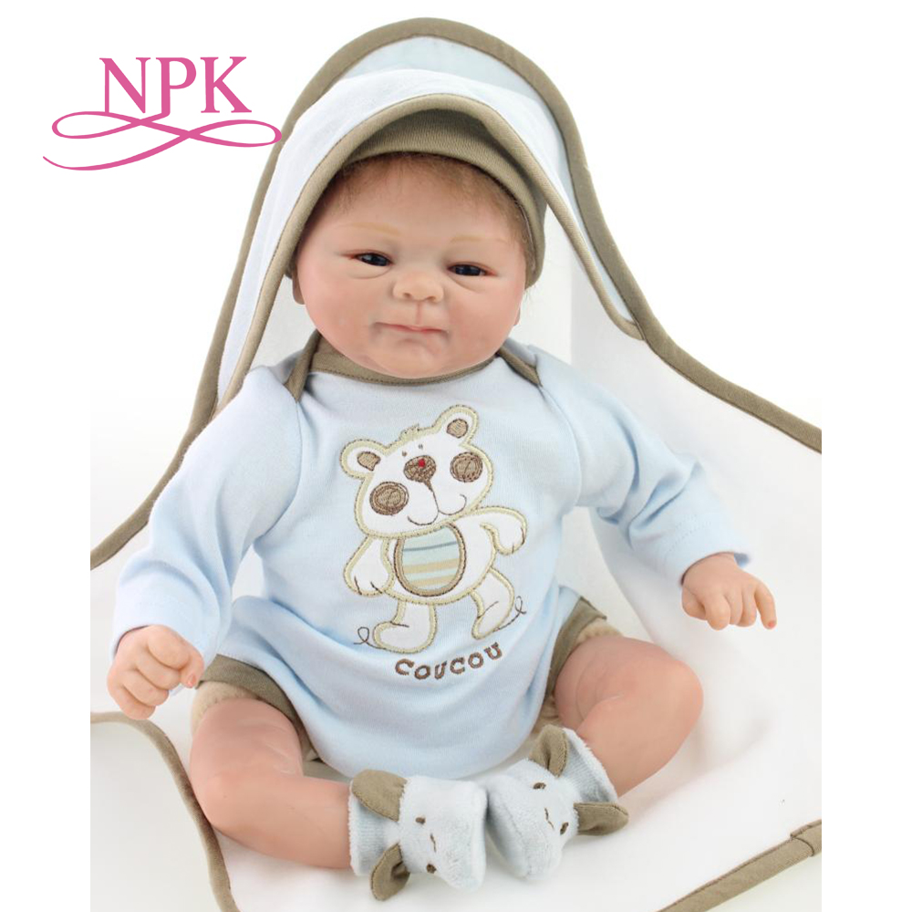 NPK handmade 40cm soft silicone reborn baby doll Lifelike newborn doll bedtime toy birthday Chirstmas Gifts