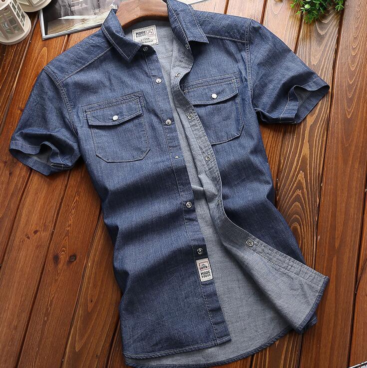 jackson-01 AFS JEEP Brand Clothing Men Shirt Camisa 2017 Denim Shirt Men Camisa Denim Hombre Short Sleeves Cotton Casual Shirts