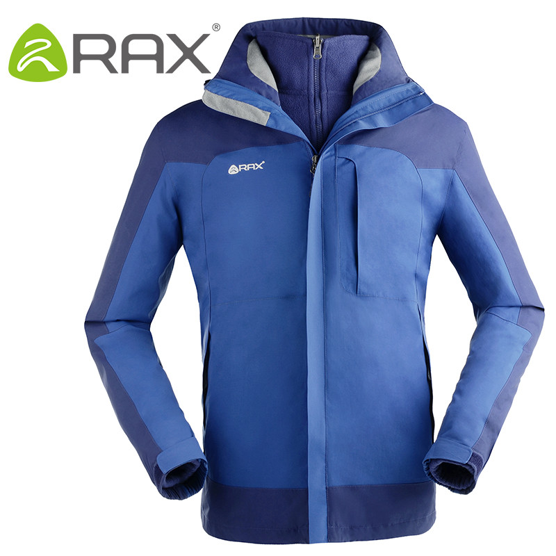 RAX Winter Outdoor Waterproof Jacket For Men and Women 3 in 1 Windproof Softshell Jacket Hiking Jacket Men Outdoor Windbreaker