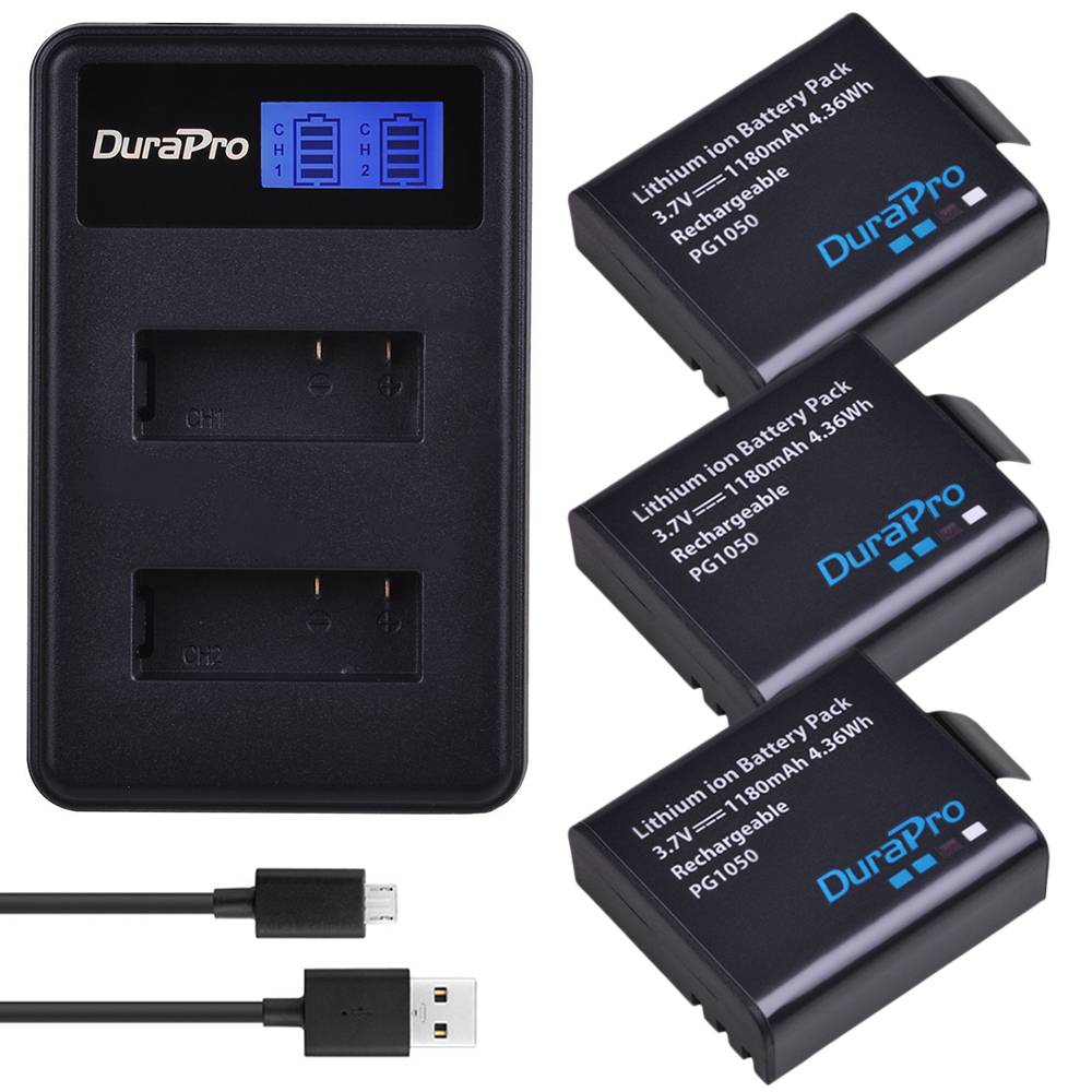 3PC PG1050 SJ4000 <font><b>PG900</b></font> camera <font><b>battery</b></font> + USB LCD Dual charger For SJCAM SJ5000 SJ6000 SJ8000 M10 EKEN 4K H8 H9 GIT-LB101 <font><b>battery</b></font> image