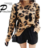 Women's Fashion Leopard Cashmere Sweaters Long Sleeve O Neck Casual Loose knitting Thicken Tops