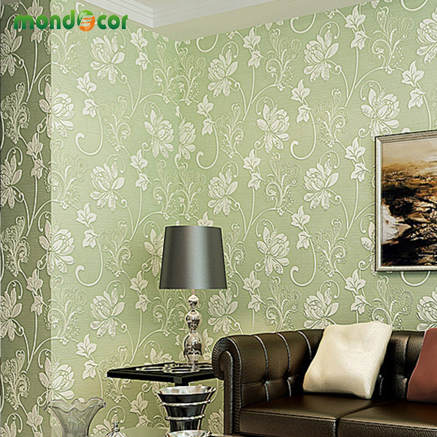 Mondecor High Quality Non Woven 3D Embossed Flocking Floral Pattern ...