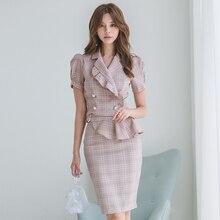 Recién llegado, chaqueta ajustada de temperamento para mujeres, a cuadros, cómoda falda adorable, vintage de moda, de alta calidad, estilo de trabajo, conjunto de mujeres lindas