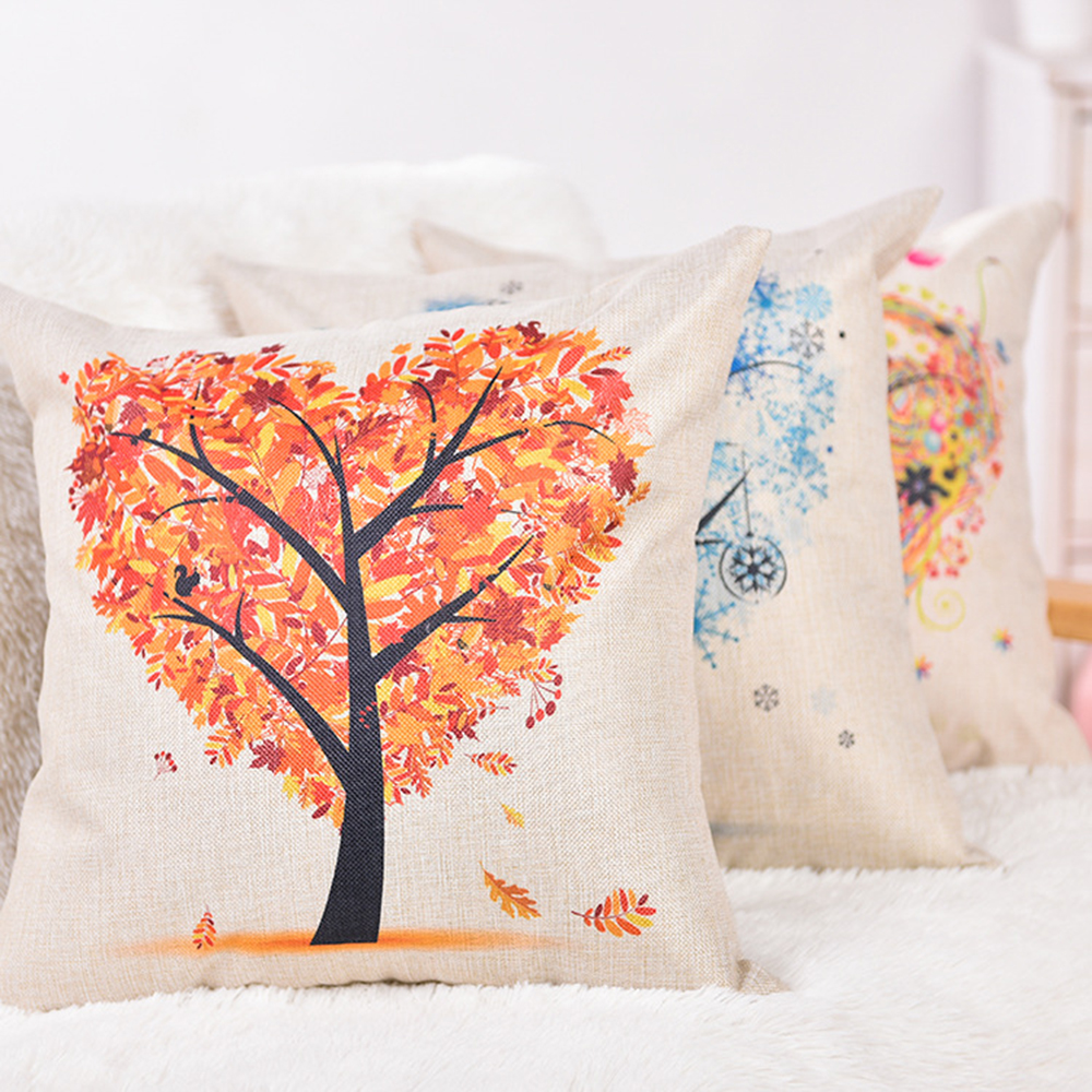 Flower Printed Cushions Covers Linen Cotton Printed Throw Pillow Covers Home Decorative Pillowcases for Sofa Couch Bedroom 45x45