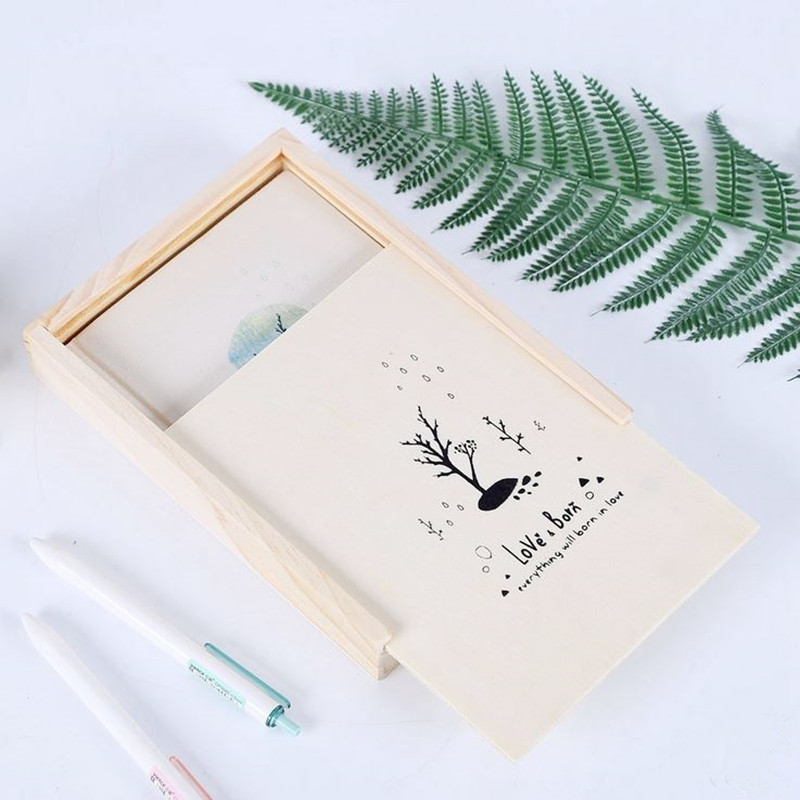 Coloffice 1PC Wooden Box Notebook For Student Stationery Notepad Printed Hard Copybook Kawaii Diary Office School Supplies 1pc creative cute cartoon animal planner notebook diary book wooden school supplies student gift