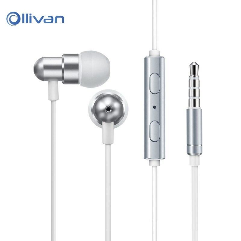 Ollivan 3.5mm In Ear Earphone Sports HIFI Headset Metal Stereo Bass Earphone with Microphone Earbuds for iPhone xiaomi Huawei