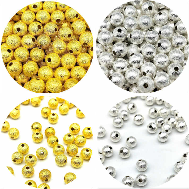 6mm 50pcs/lot Cheap Hot Beads Round Plated Metal Scrub Spacer Loose Beads For Necklace Bracelet Beads Charms DIY Jewelry Making