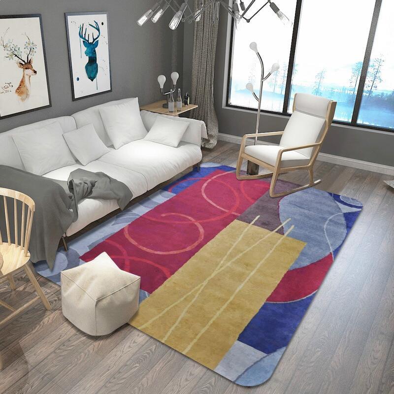 Bunte Moderne Einfachheit Teppich Für Wohnzimmer Schlafzimmer Geometrische Muster Teppiche Große Größe Hause Teppich Dekoration Nicht-slip Matten Ohne RüCkgabe