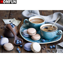 HOMFUN Full Diamond Embroidery Coffee biscuit Painting Cross Stitch Patterns Rhinestone Unfinished Home Decor A13327