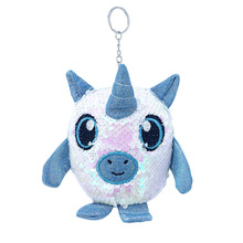 New sequined Unicorn doll key chain with built-in PP cotton padding fashion lady bag hanging decoration