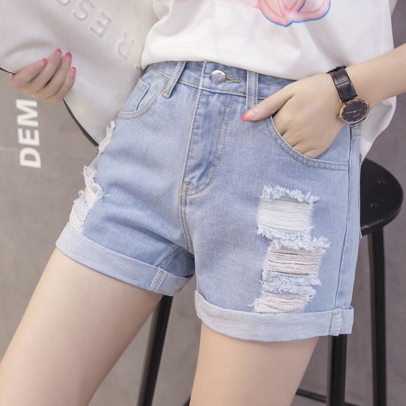 New Arrival Denim Shorts Jeans Women Tassel Hole Summer Sexy Casual Mini Tassel Streetwear Hole Ripped Sexy Shorts 2019