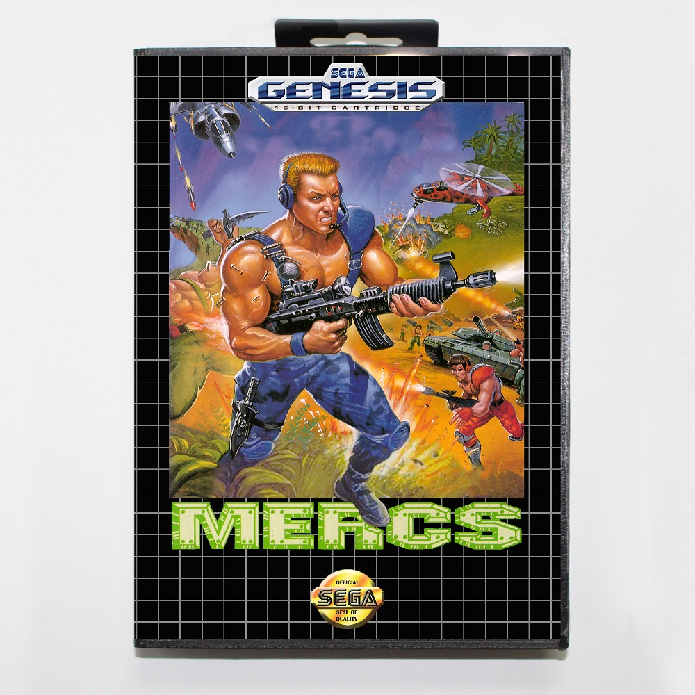 Mercs 16 bit MD card with Retail box for Sega MegaDrive font b Video b font