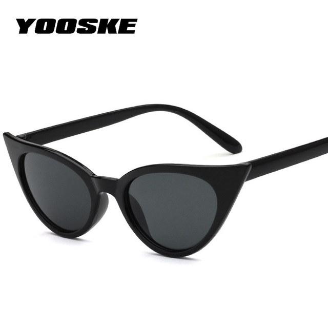 YOOSKE 2018 Cat Eye Sunglasses Women Retro Small Size Cateye Sun glasses Transparent Lens Female Vintage Glasses Frame